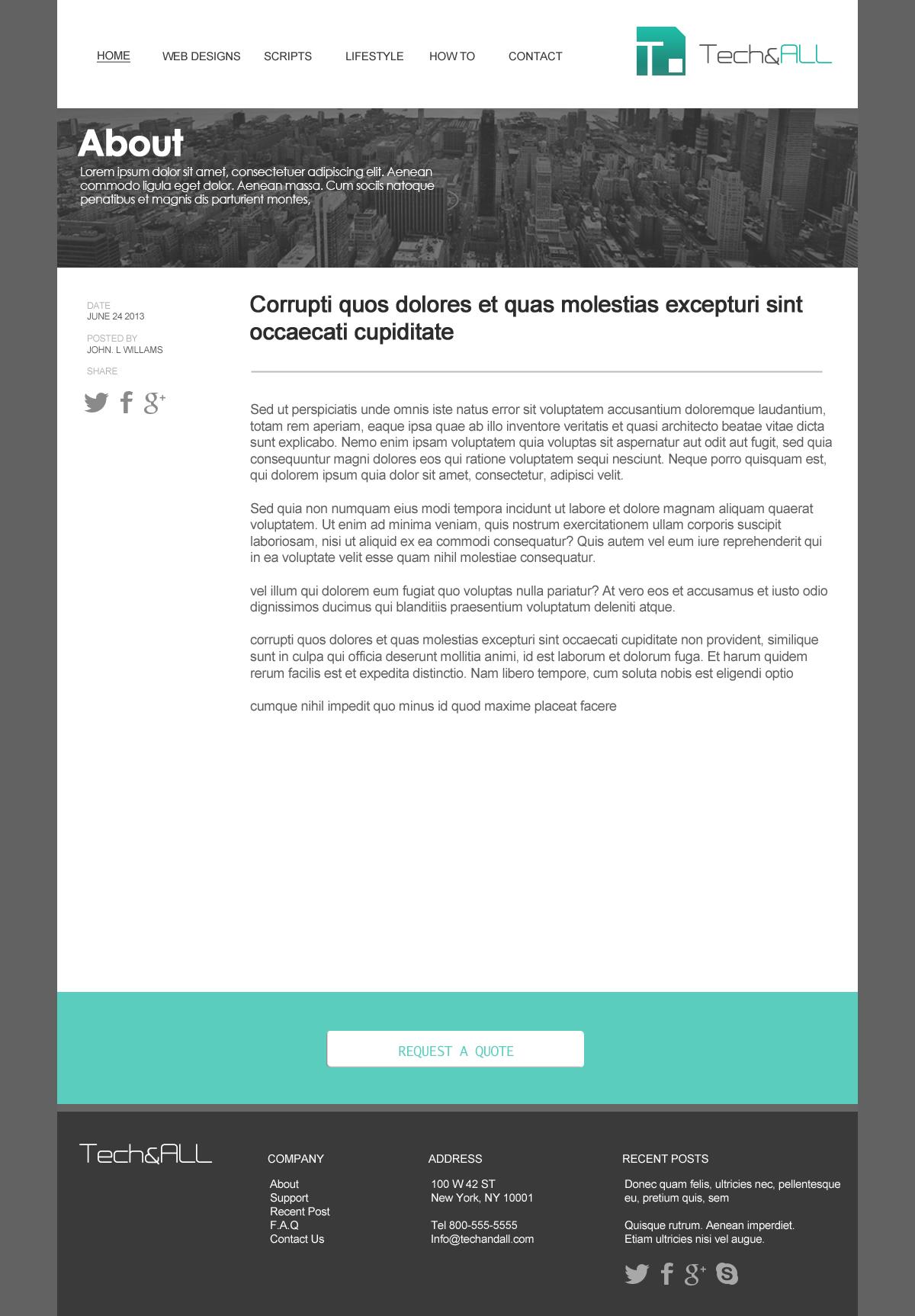 Teal Simple Website Template D Tech All