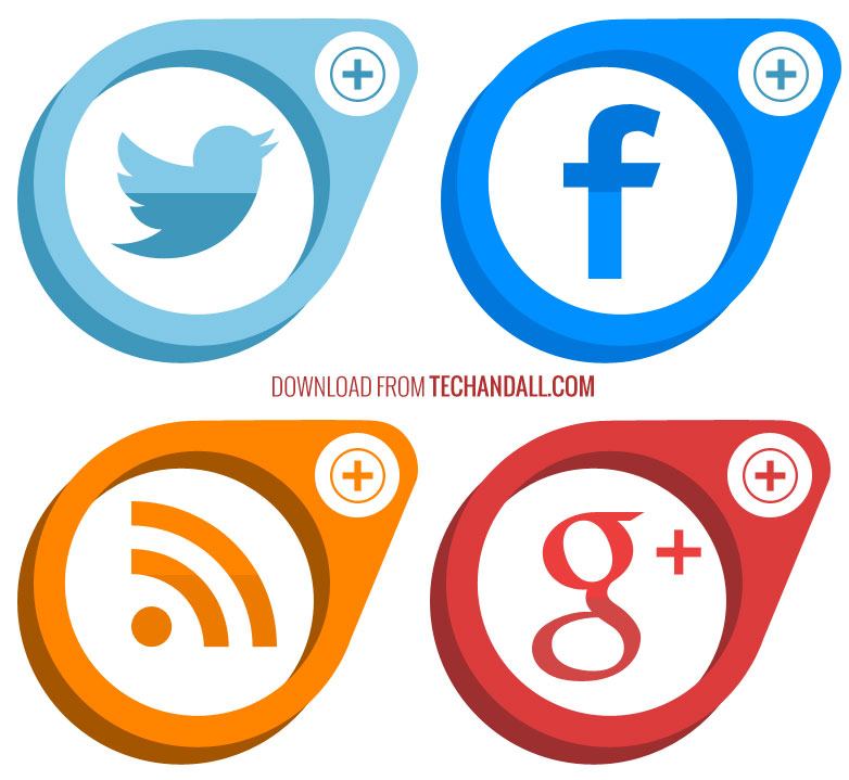 Flat-Social-Media-Button-By-TechAndAll